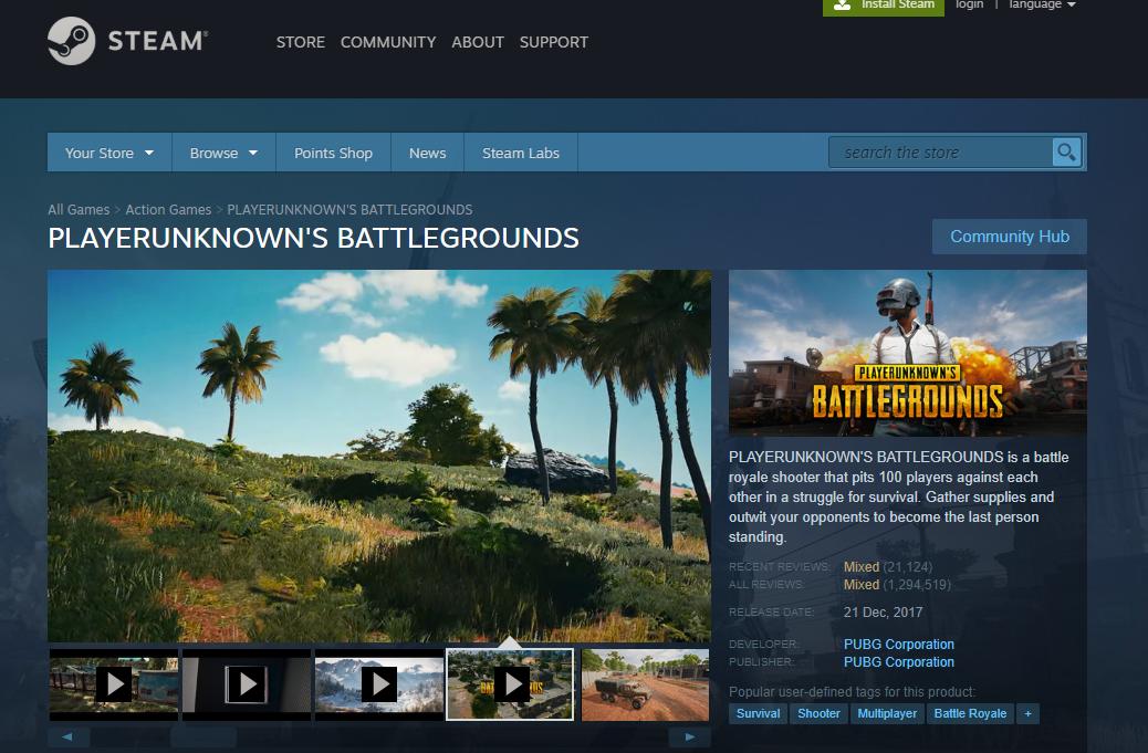 Player Unknown's Battle Ground