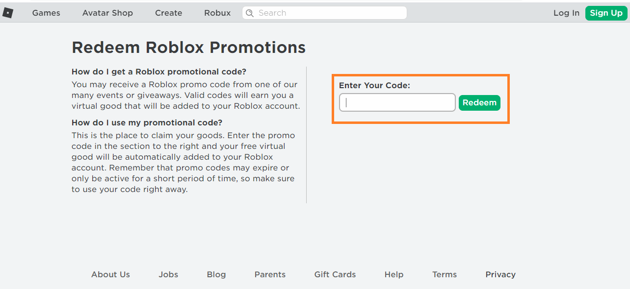 Reedem Roblox Promo Codes