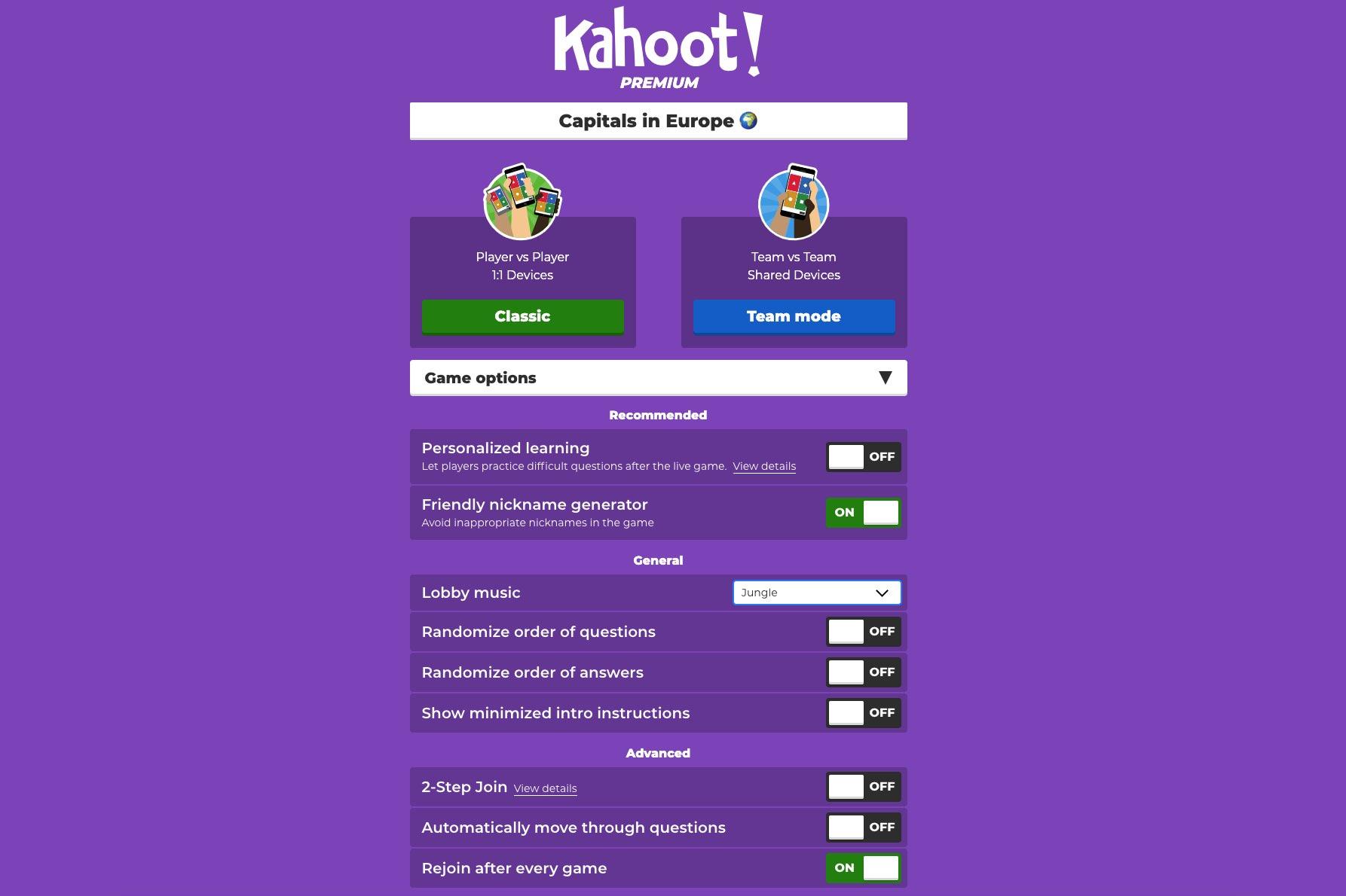 add name on kahoot